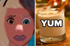 """Disney princess with many different features and eggnog with the word """"yum"""""""