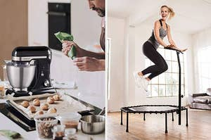 A split thumbnail of a person using a stand mixer and a person jumping on a fitness trampoline