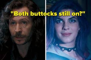 Gary Oldman as Sirius Black and Natalia Tena as Nymphadora Tonks in the