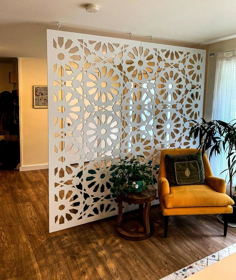 A white room divider in pattern number six