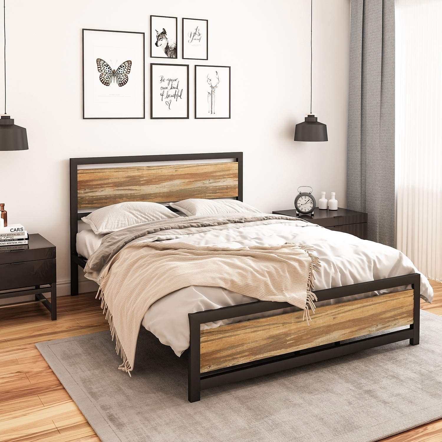 The wood and metal bed frame