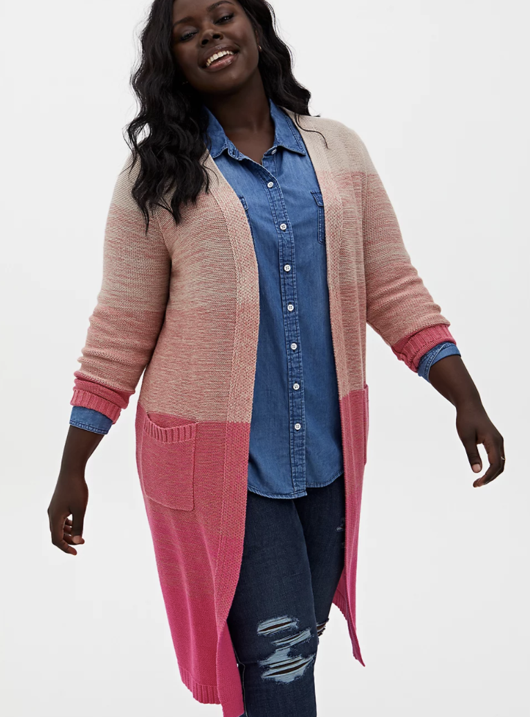model wears pink ombre duster cardigan