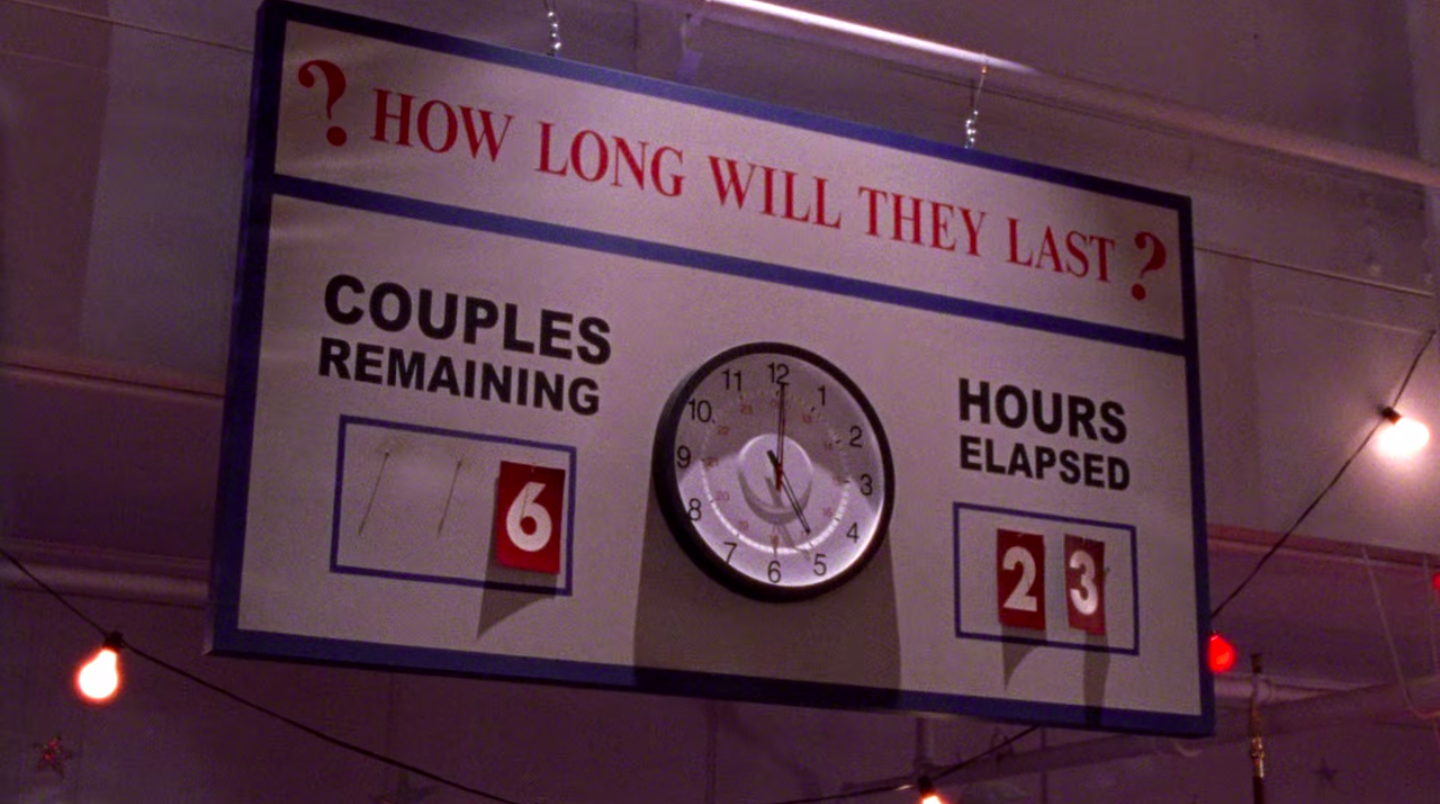 A sign at the dance marathon that says it's been 23 hours and 6 couples remain
