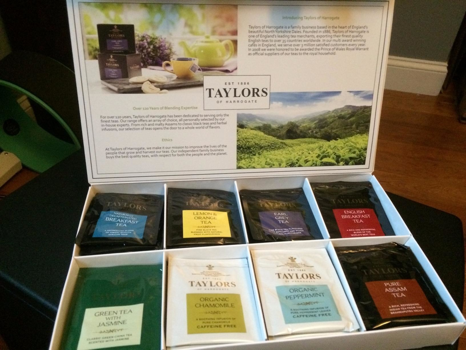 reviewer photo showing the tea sampler box open with a variety of different teas in it