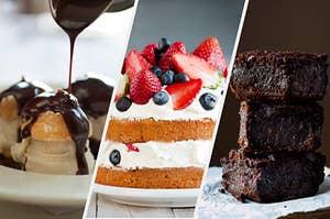 Chocolate covered cream puffs, berries and cream cake, and fudge brownies