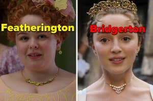 """Penelope is on the left labeled """"Featherington"""" with Daphne on the right in a crown labeled, """"Bridgerton"""""""