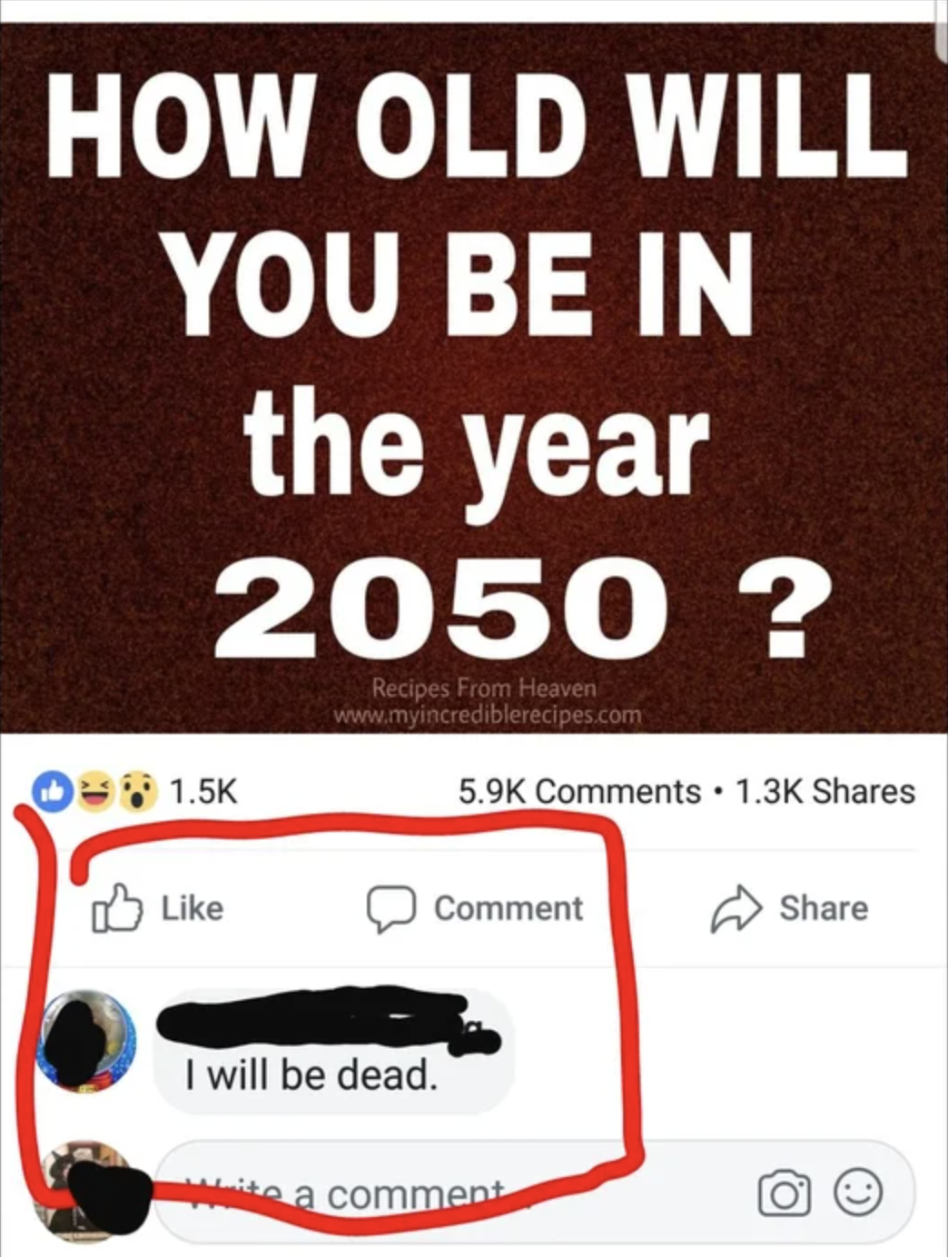 meme saying how old will you be in 2050 and someone responds i will be dead