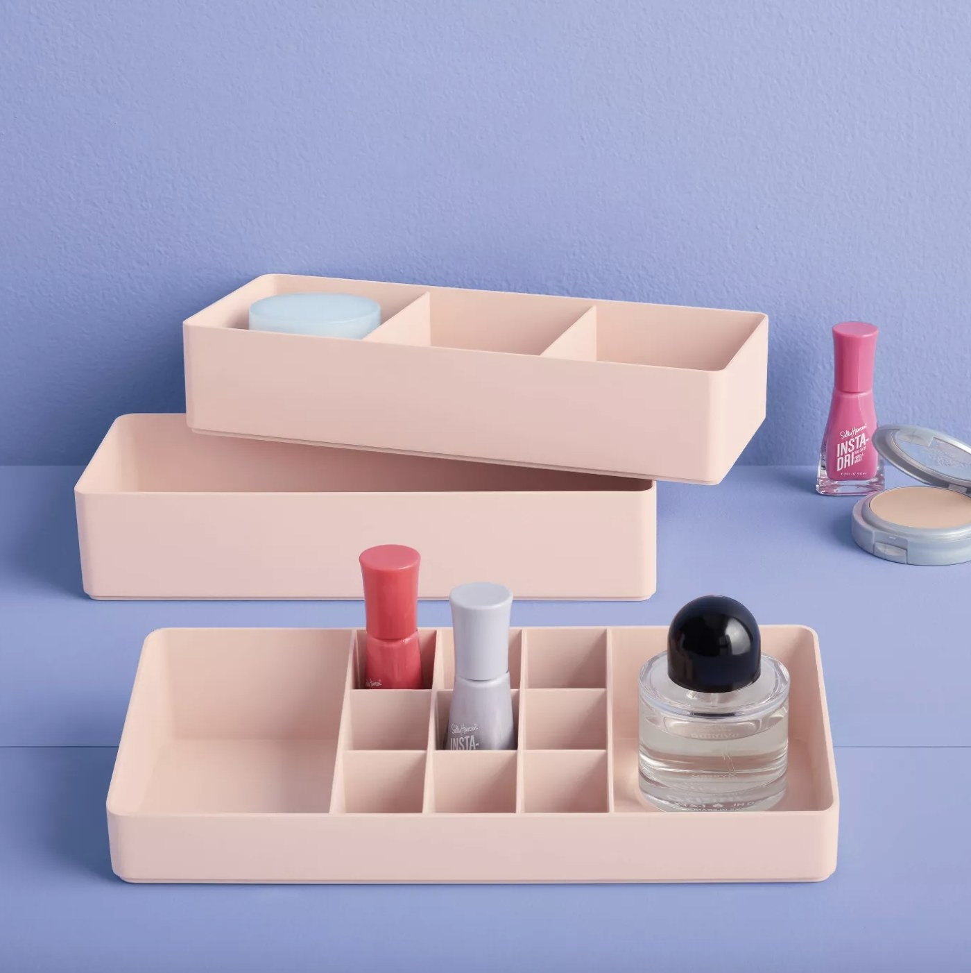 the three piece pink organizer with little dividers