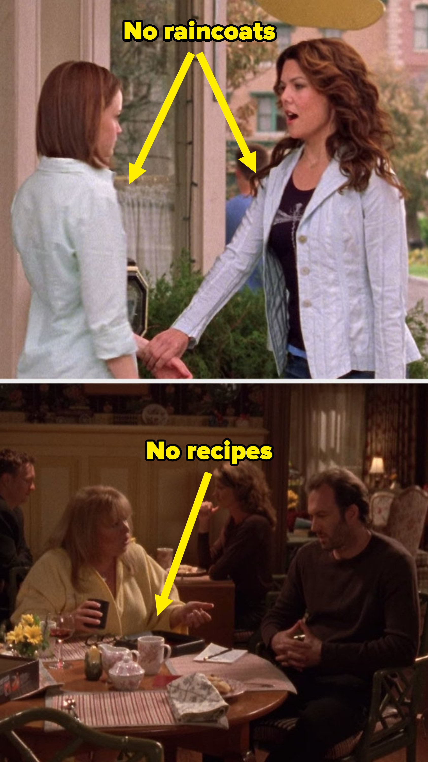 No raincoats or recipes throughout the episode