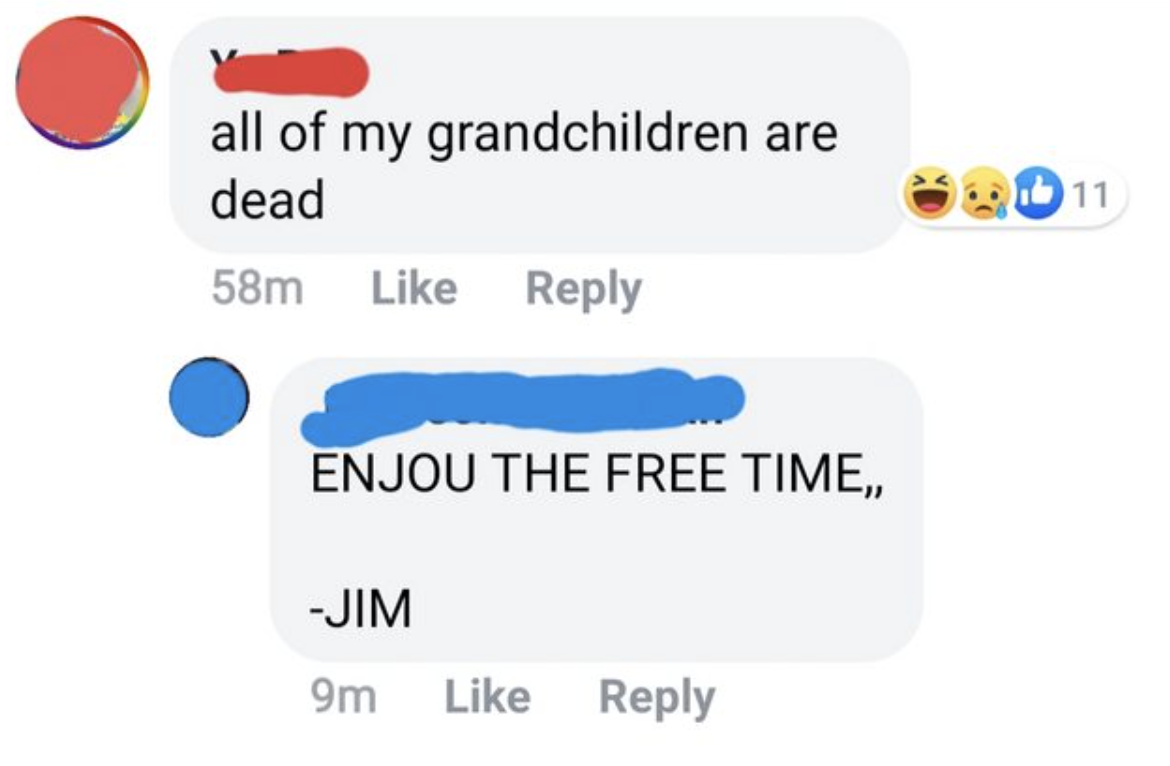 comment reading all of my grandchildren are dead and someone named jim says enjoy the free time