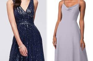 A sparkling dress next to a simple dress
