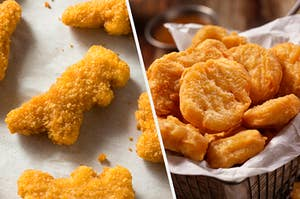 Nuggets shaped like boots next to dino nuggets