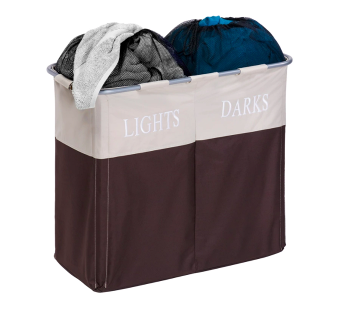 The two-compartment hamper with a side for lights and a side for darks