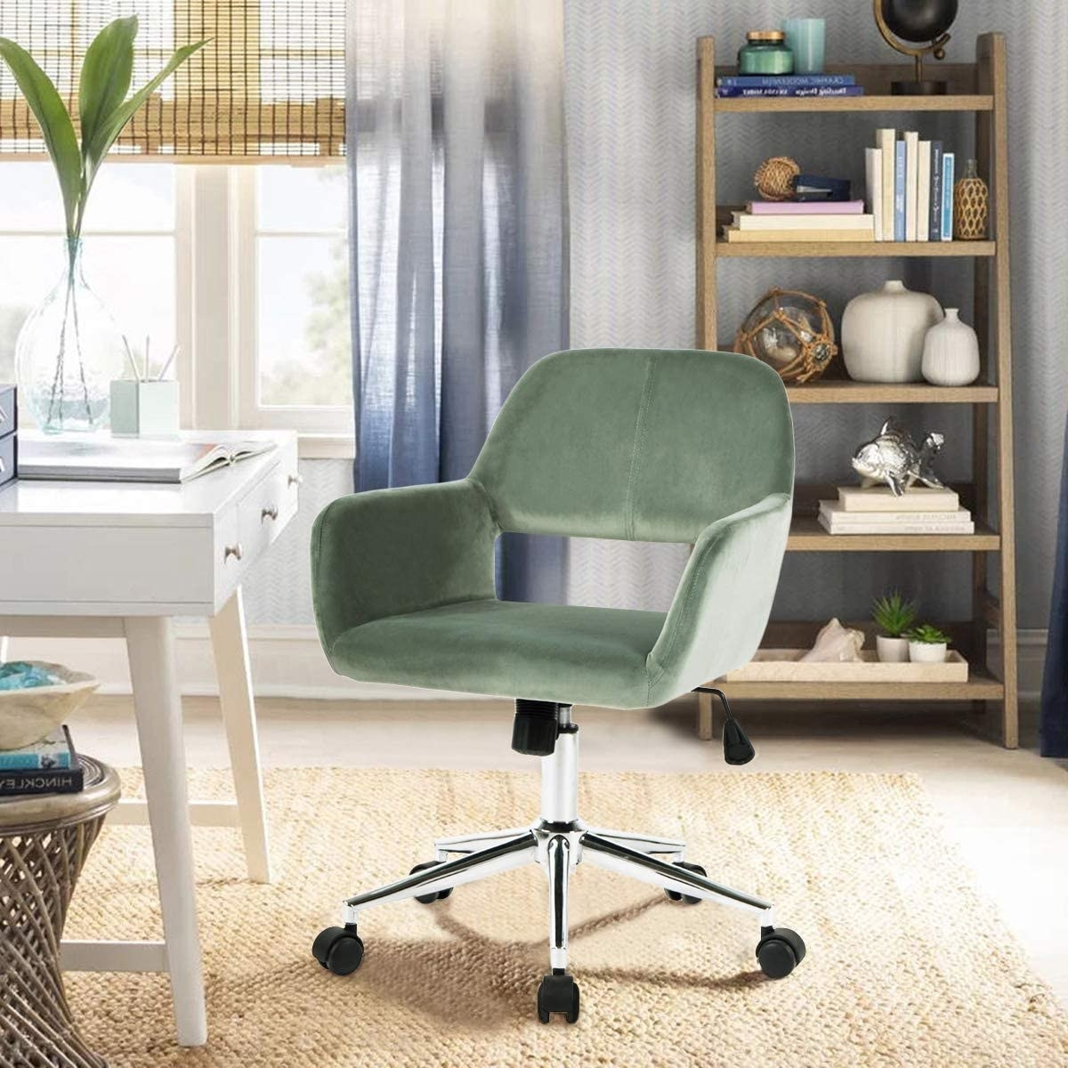The rolling task chair in cactus green