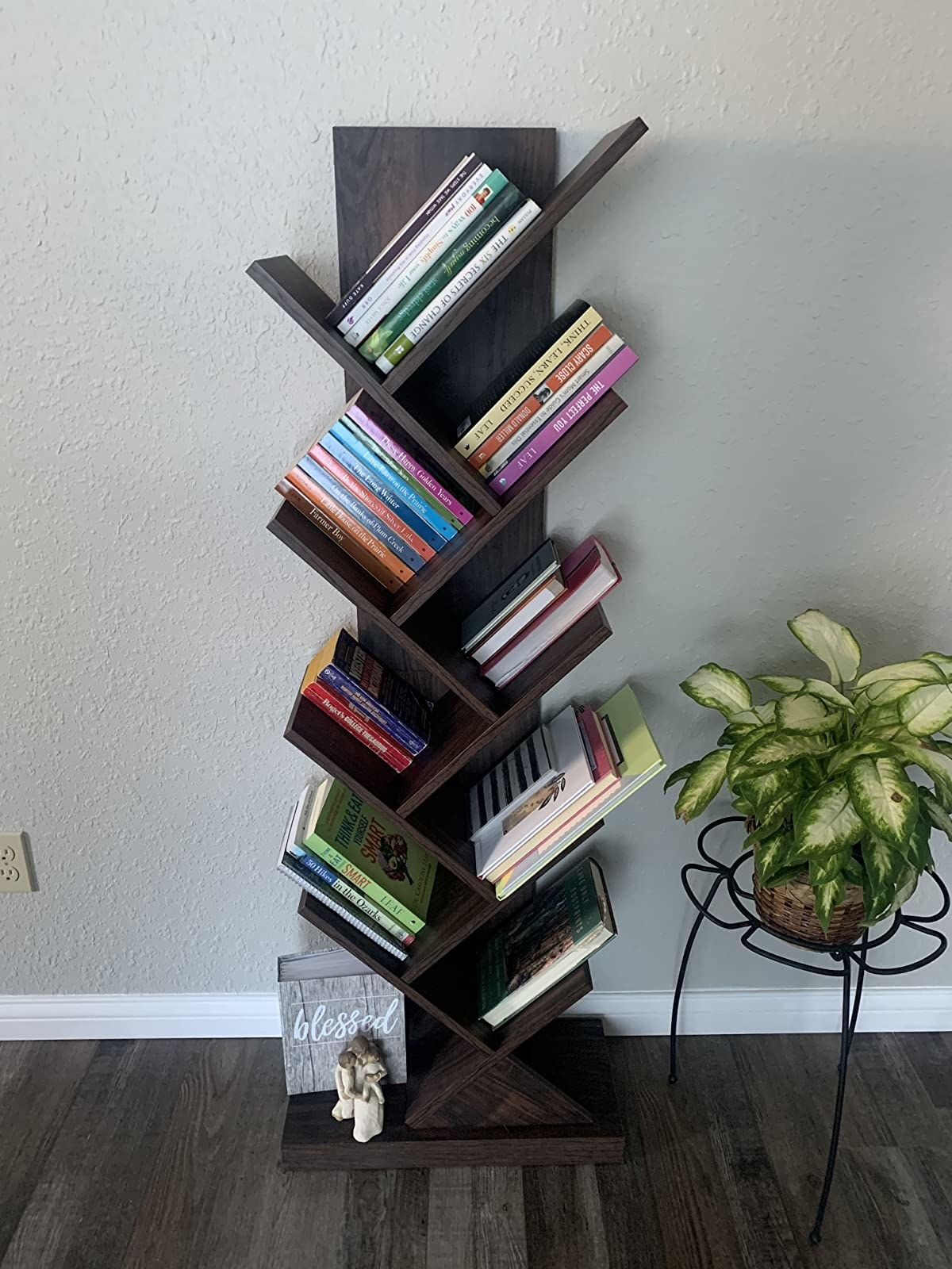 A reviewer's photo of the brown bookcase