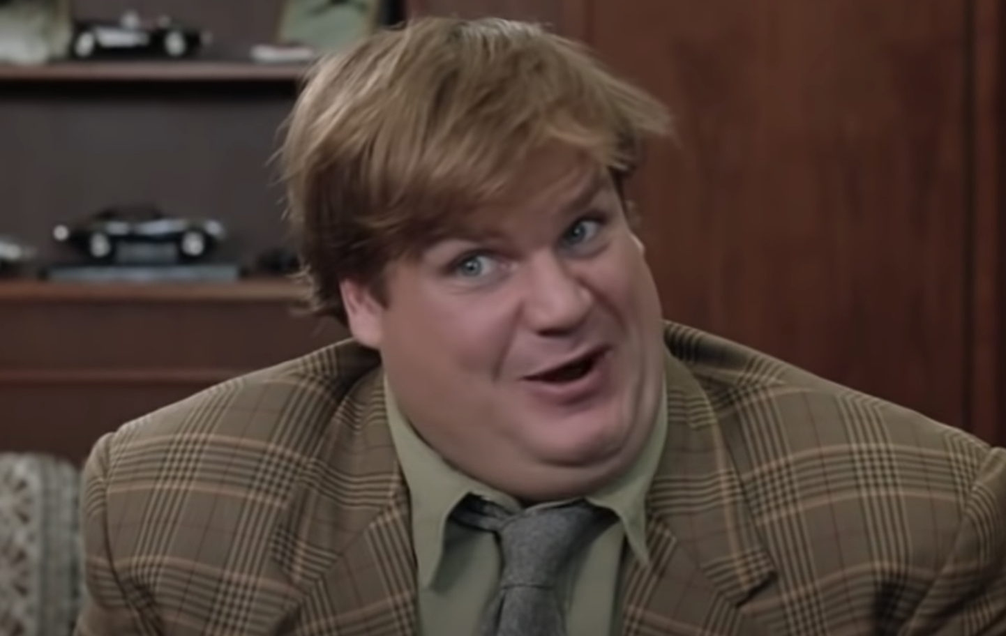 "Chris Farley trying to make a sale in ""Tommy Boy"""