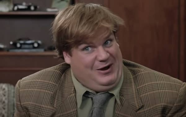 """Chris Farley trying to make a sale in """"Tommy Boy"""""""