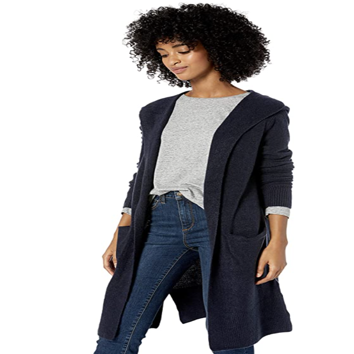 a model in the cardigan in navy