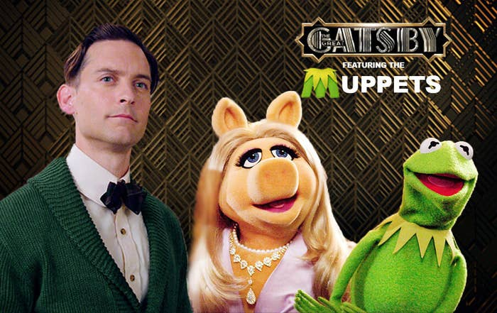 fake poster for The Gatsby Muppets featuring Tobey Maguire, Miss Piggy, and Kermit