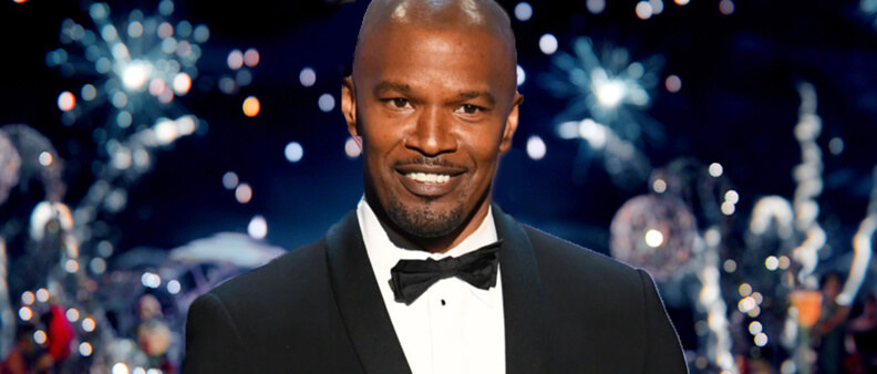 Jamie Foxx in the scene of The Great Gatsby where Gatsby toasts the camera