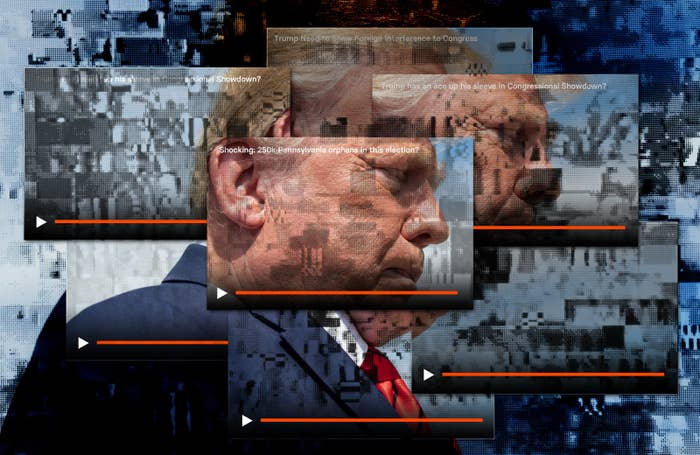 An illustration of overlayed YouTube windows with the same Trump video on them