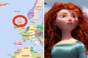 "Merida from ""Brave"" next to a map highlighting Scotland"