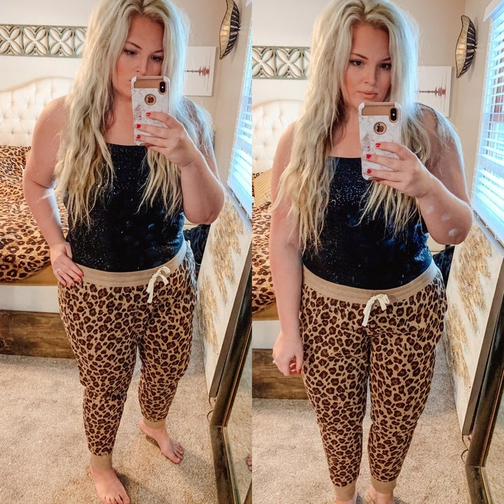 a side by side photo of a reviewer in cheetah print joggers