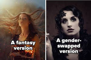 """""""a fantasy version"""" with a woman with floating burning books around her, and """"a gender-swapped version"""" with a 1920s woman with a cigar"""