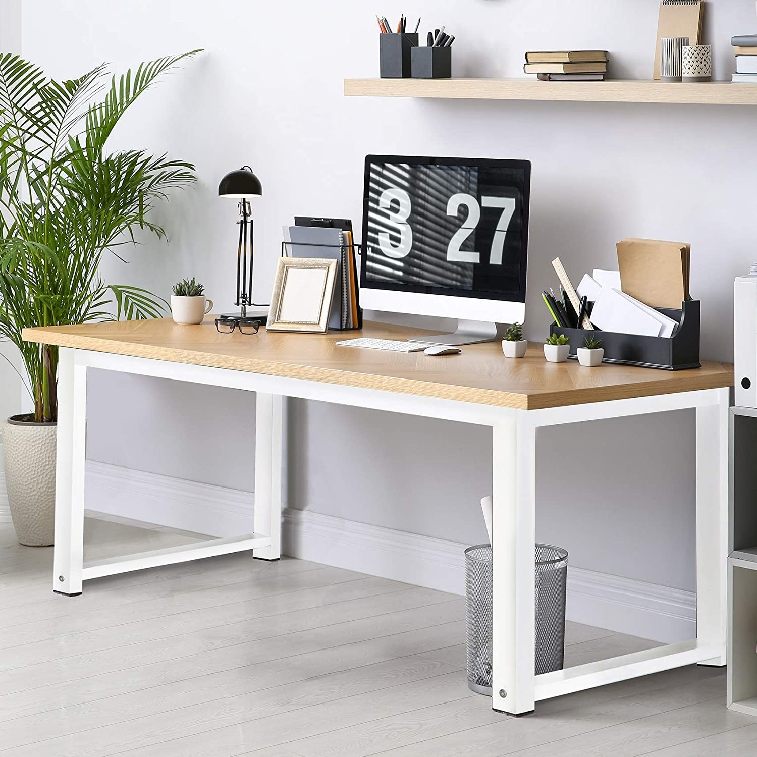 The walnut and white metal desk