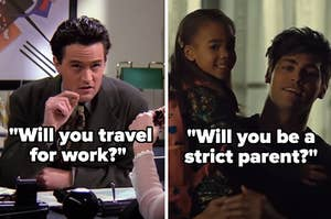 """Chandler from """"Friends"""" with the words """"Will you travel for work?"""" and Alec from """"Shadowhunters"""" holding Madzie with the words """"Will you be a strict parent?"""""""