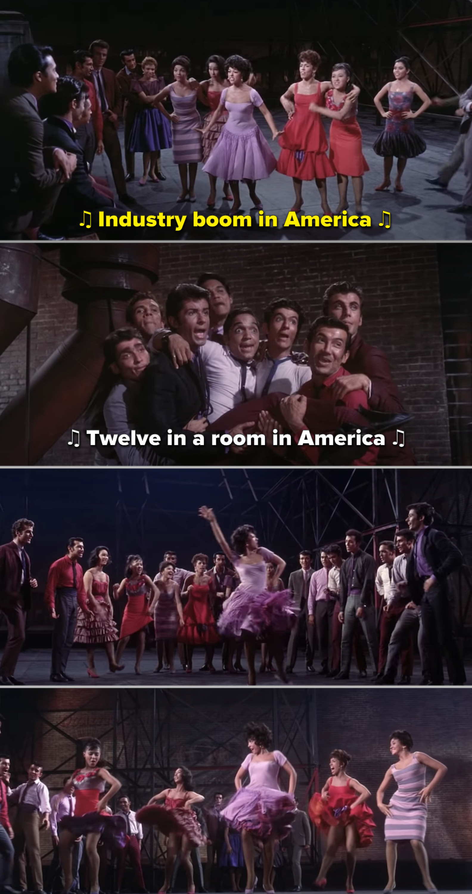 "Rita Moreno and the cast singing and dancing to ""America"""