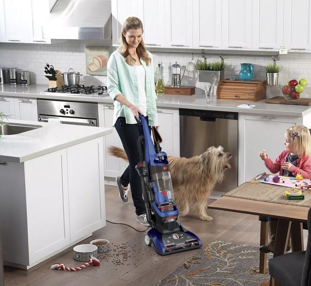 Person is vacuuming dog food off the kitchen floor