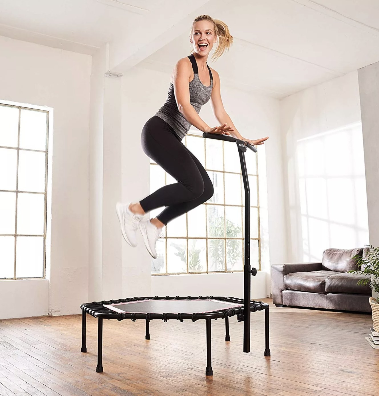 Person is jumping on a fitness trampoline