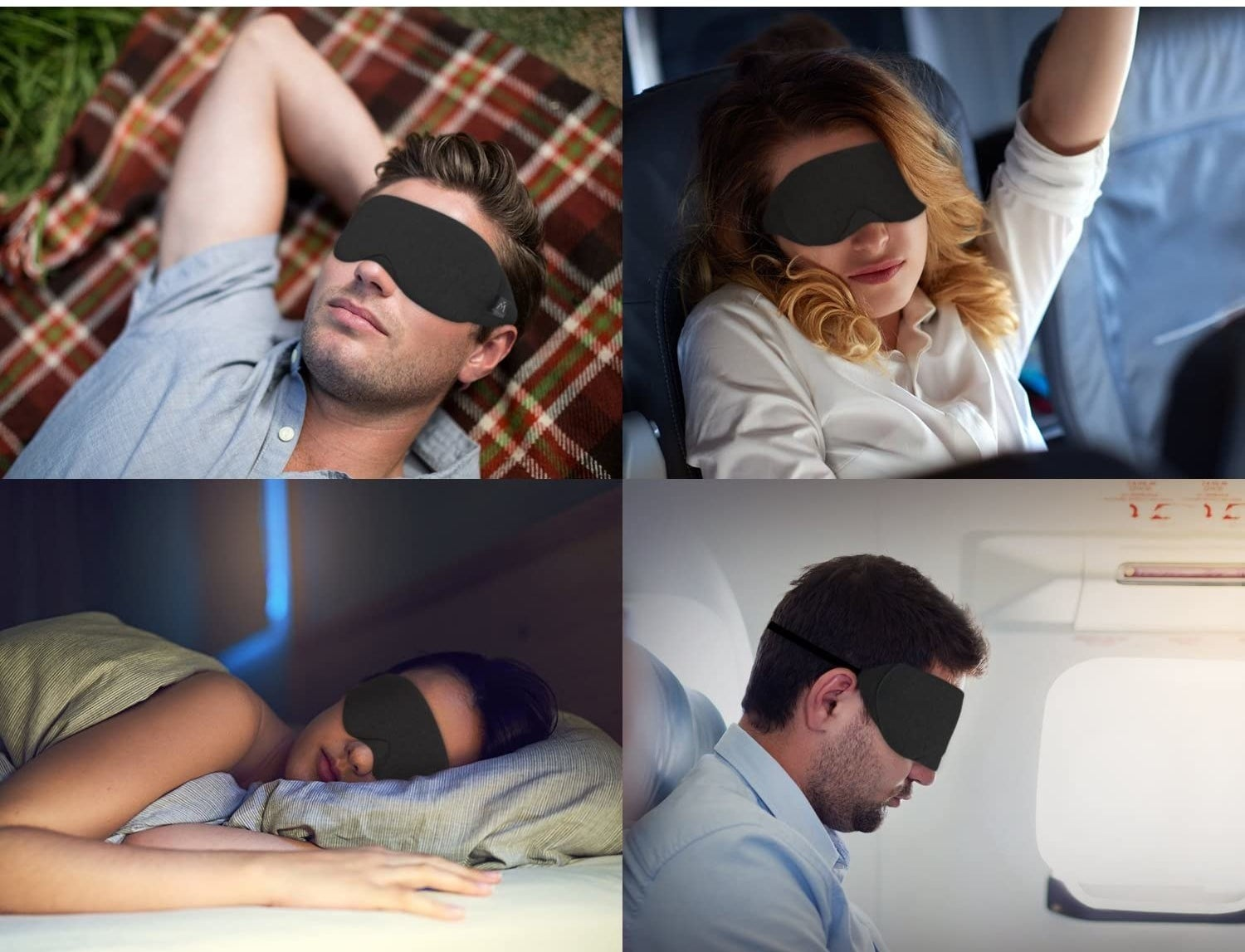 people sleeping in various locations with the eye mask
