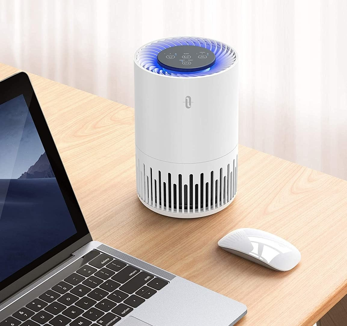 the air purifier on a table