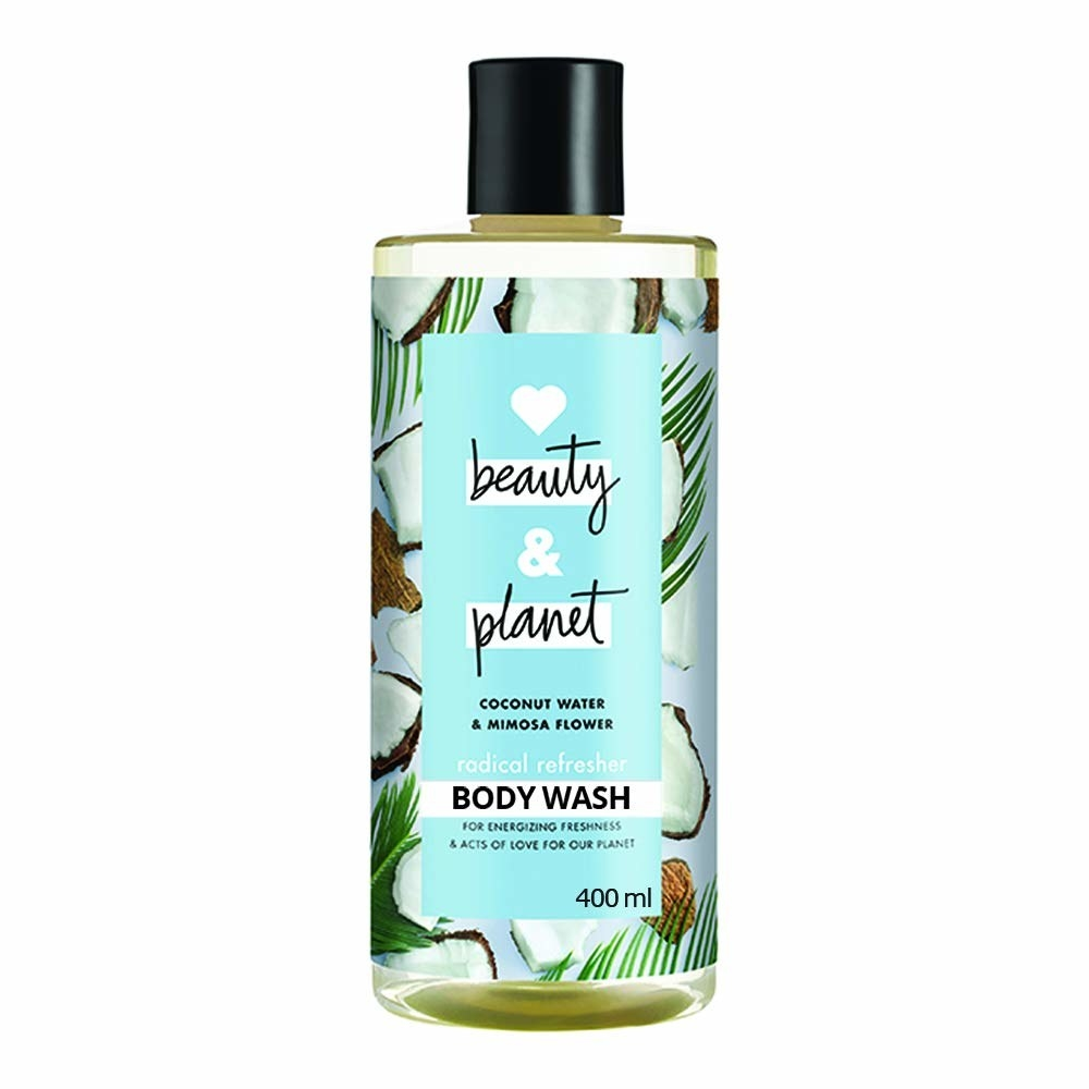 Packaging of the coconut water and mimosa body wash