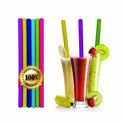 A set of silicone straws next to silicone straws in a drink