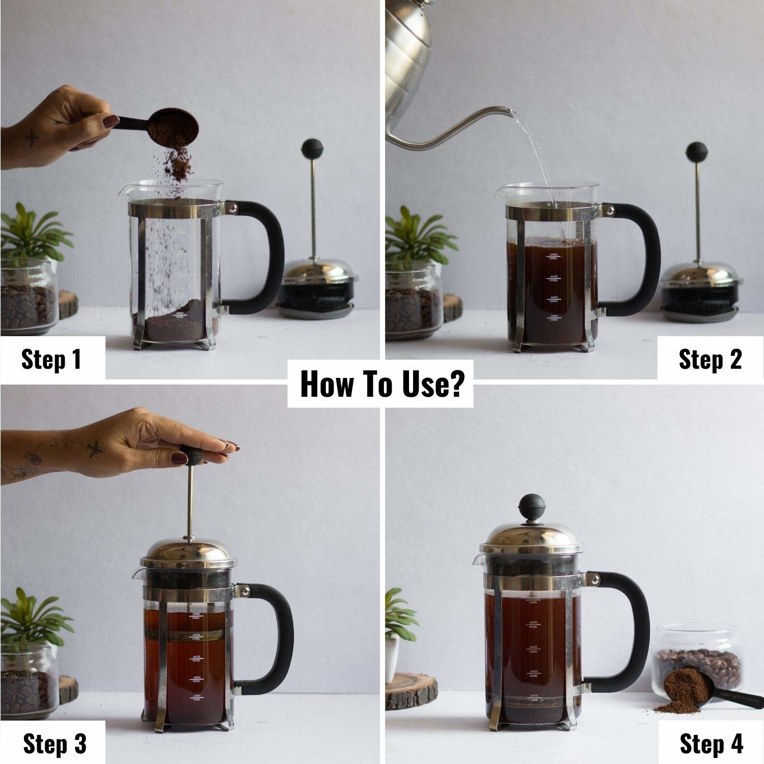 Usage of the French Press coffee maker