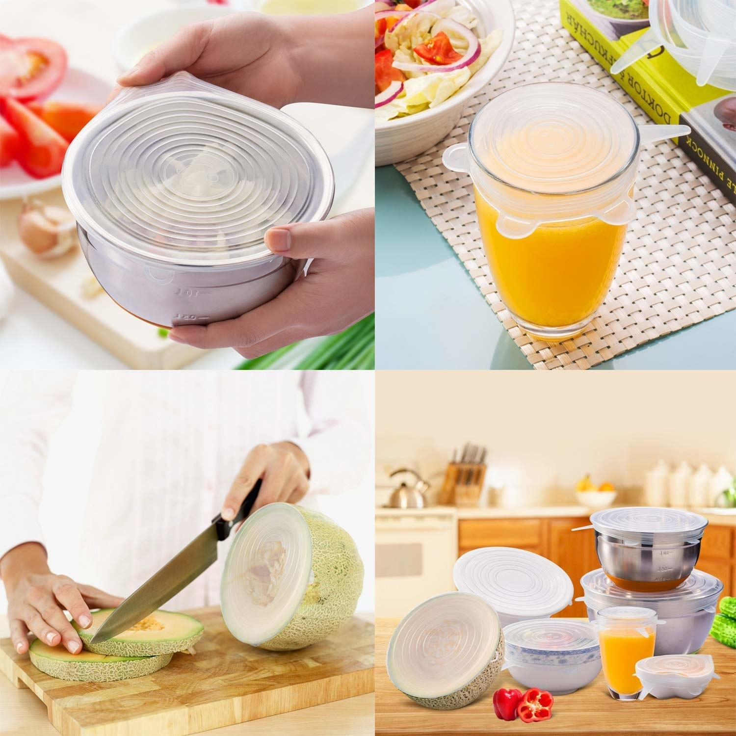 Various uses of the stretchable silicone lids