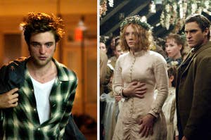 Side by side stills from Remember Me and The Village
