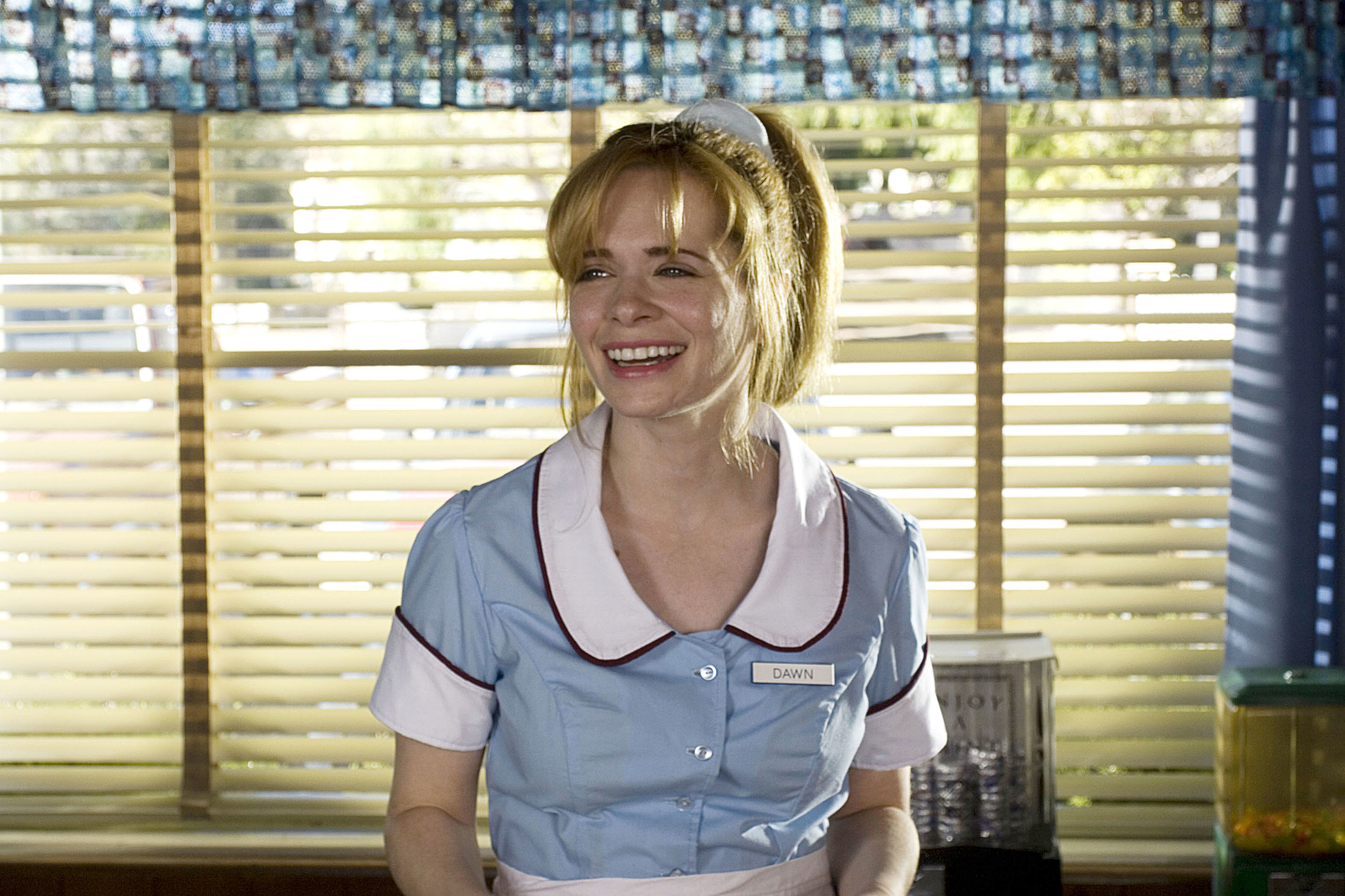 "Shelly dressed as a waitress, acting in her film ""Waitress"""