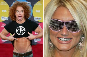 carrot top showing off his torso and brooke hogan in a grille