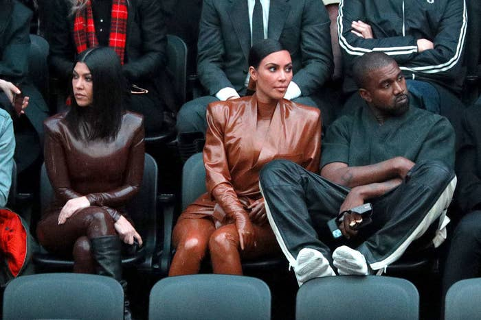 Kim and Kanye at the Balenciaga show