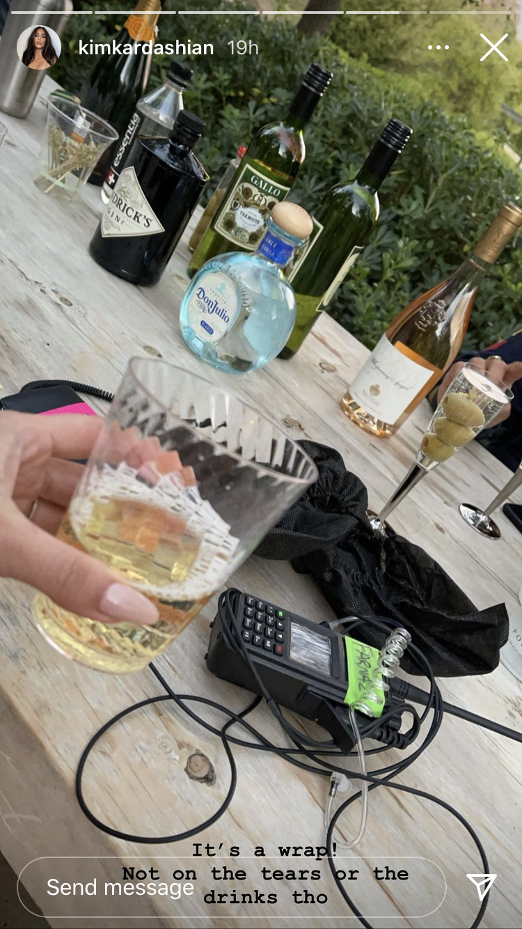 Kim's Instagram story with drinks and mic pack
