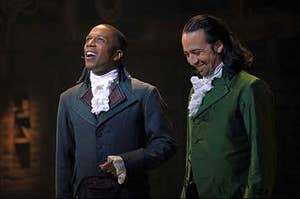"Leslie Odom Jr. in costume as Aaron Burr with Lin-Manuel Miranda in ""Hamilton"""