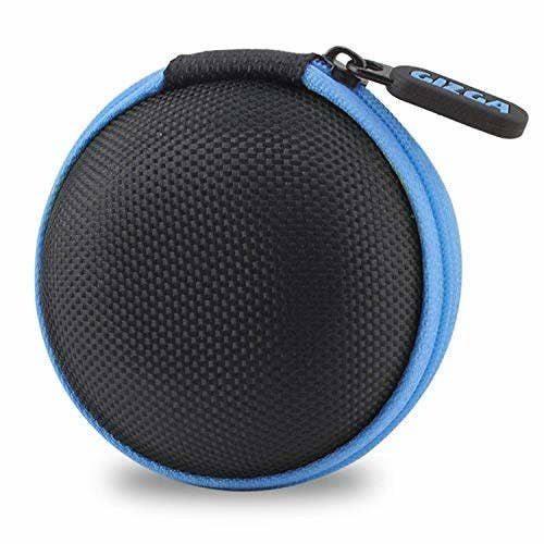 A black and blue earphone carrying case
