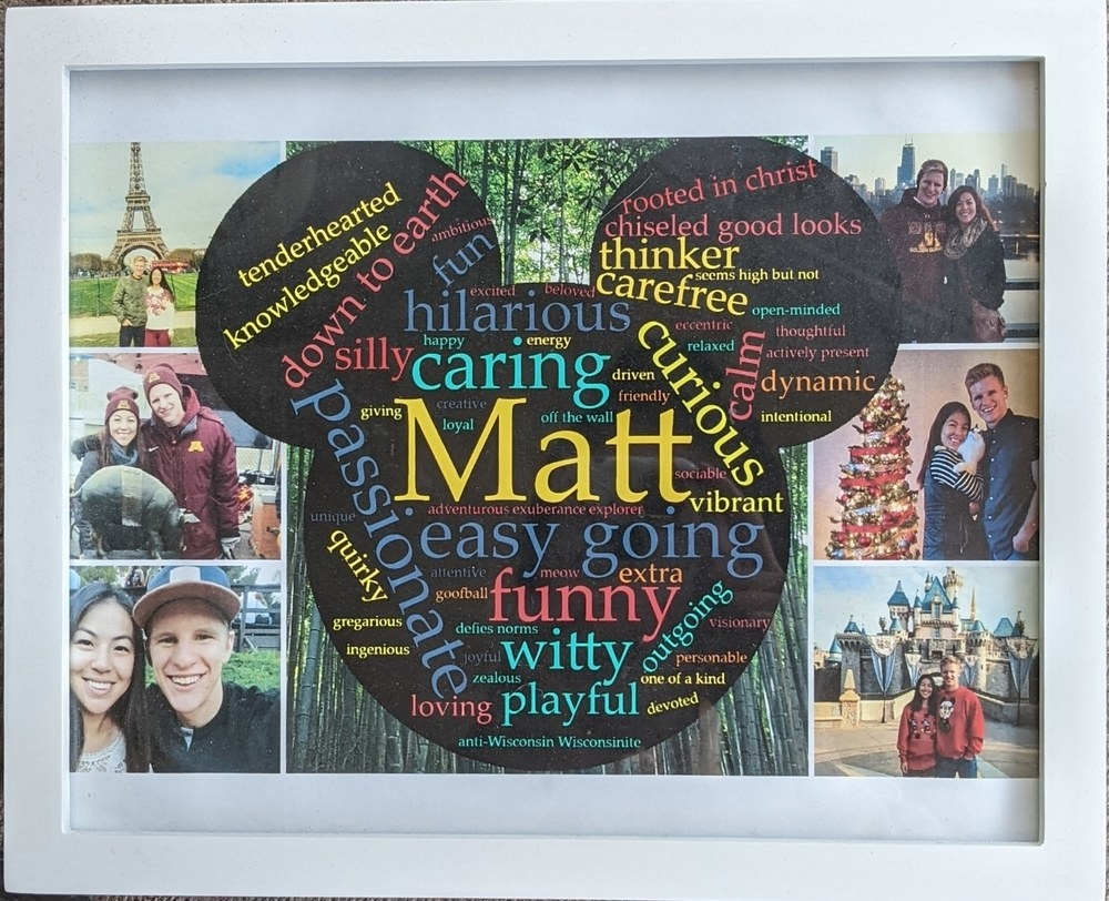 A picture frame with a word cloud of meaningful words