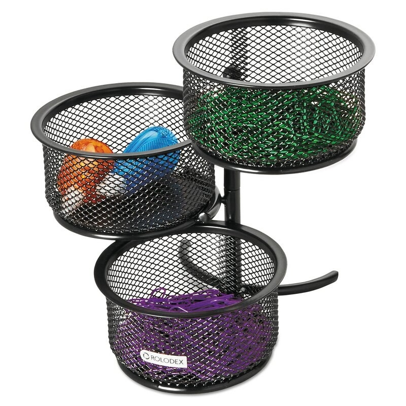 Three-tier black mesh paper clip tower