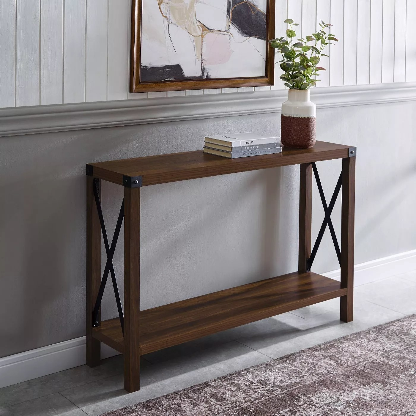 The metal-X entryway table in dark walnut