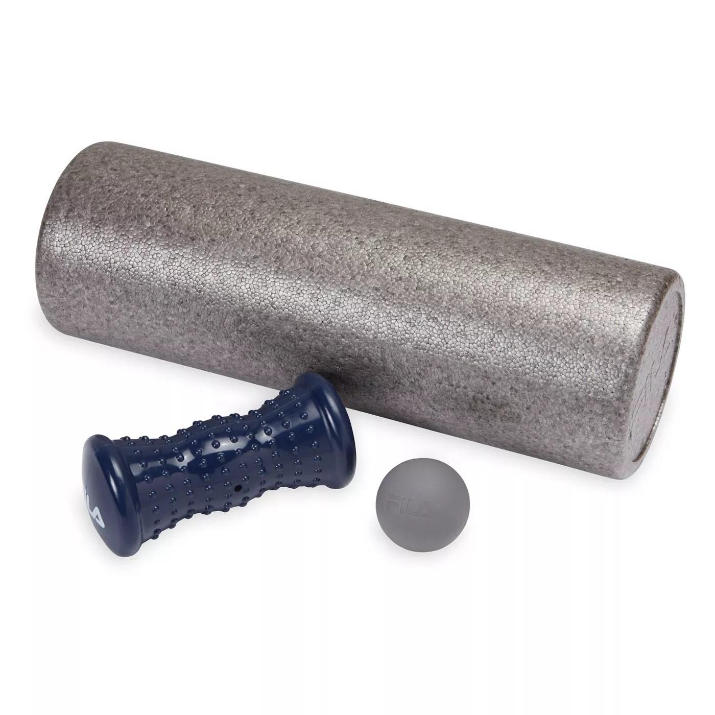 A foam roller, rubber ball, and massage roller